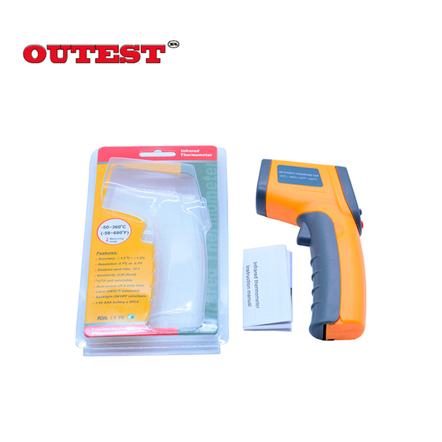 Temperature Pyrometer IR Laser Point GunNon-contact Digital Laser infrared thermometer GS320 -50~360C (-58~680F)