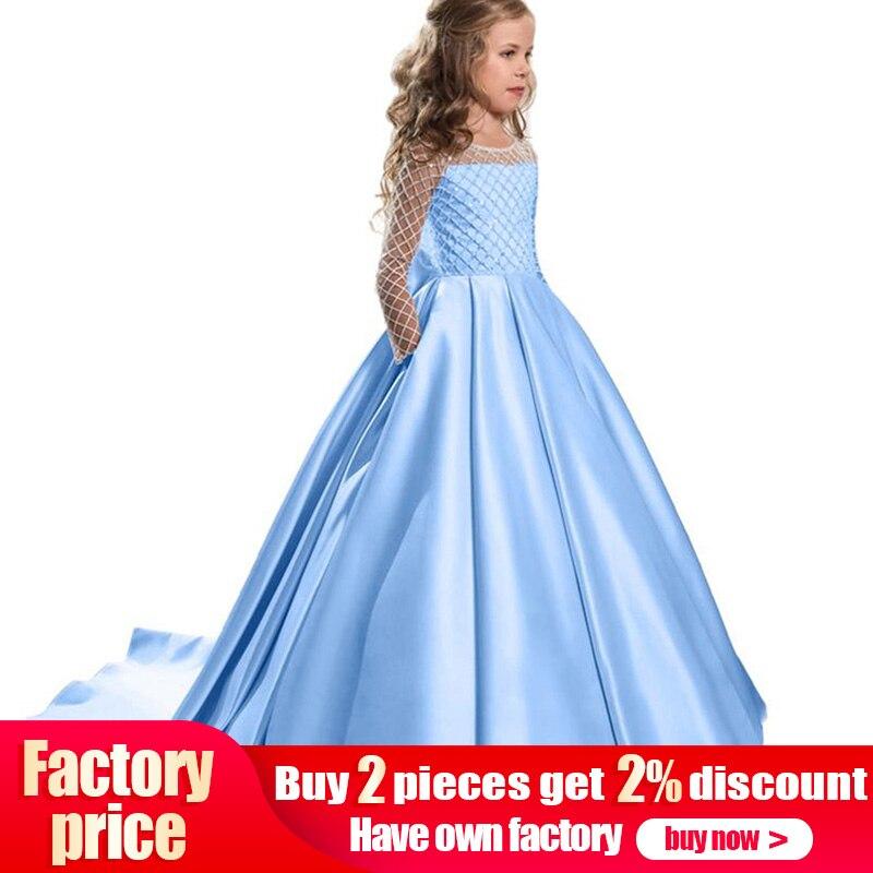 2b89ddaa79 Venta al por menor Boutiques bordado flor vestidos de niñas con el cinturón  de diamantes de imitación con volantes elegante niños de noche de baile  vestido ...