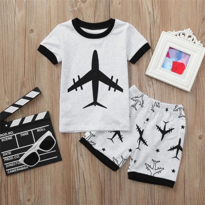 Одежда для малышей комплект одежды для мальчиков плоскости Динозавр печати с коротким рукавом с принтом с героями мультфильмов футболка + п...