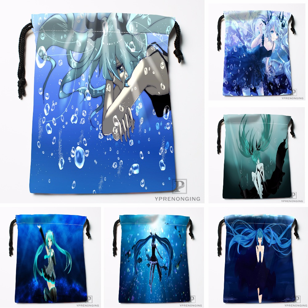 Custom Deep Sea Girl Hatsune Miku Drawstring Bags Travel Storage Mini Pouch Swim Hiking Toy Bag Size 18x22cm#0412-11-112
