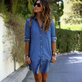 Explosion Models New Fashion Pocket Women Dress Casual Denim Buttons Dresses