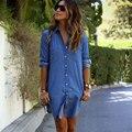 Modelos de explosão nova moda bolso mulheres vestido Casual Denim botões vestidos