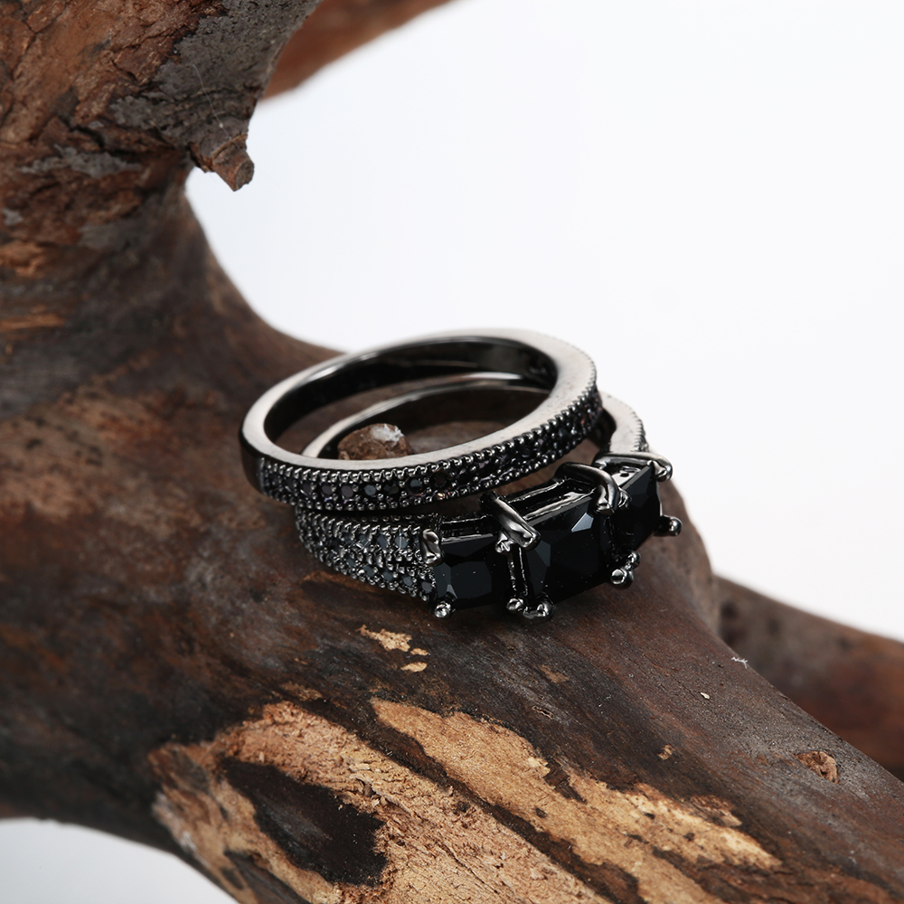 Rings sets new jewelry hot drop shipping princess Black Cubic Zircon zircon women Engagement Ring Jewellery
