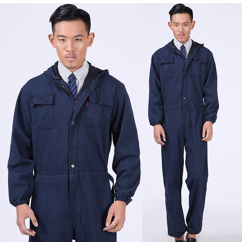 New Men Overalls Denim Work Clothing Long Sleeve Hooded Coveralls Labor  Overalls For Machine Welding Auto. sku  32796789364 50b4279d47d0