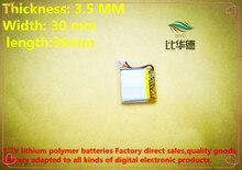 Bateria de Lítio-ion Qualidade dos Bens Frete Grátis 3.7 V 250 Mah 353030 Bateria de Polímero DA Qualidade CE Fcc Autoridade Certificação Rohs