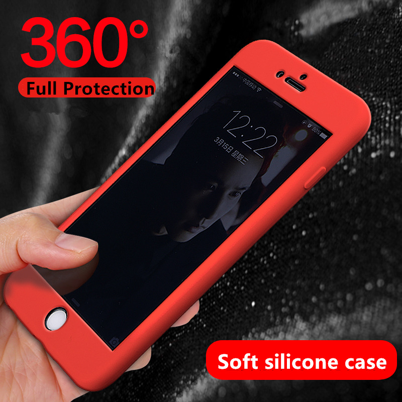 360 Degree Full Body Protection Cover Case for iphone 7 Silicone Case iphone 6splus 7plus solt silica case for iphone6 6s