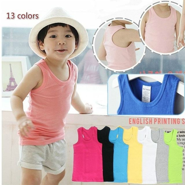 2-8T Children T Shirts Summer Style Boys Girls Clothes Vest Cotton Casual Sleeveless kids Candy Colors Sport Vests Out Wear