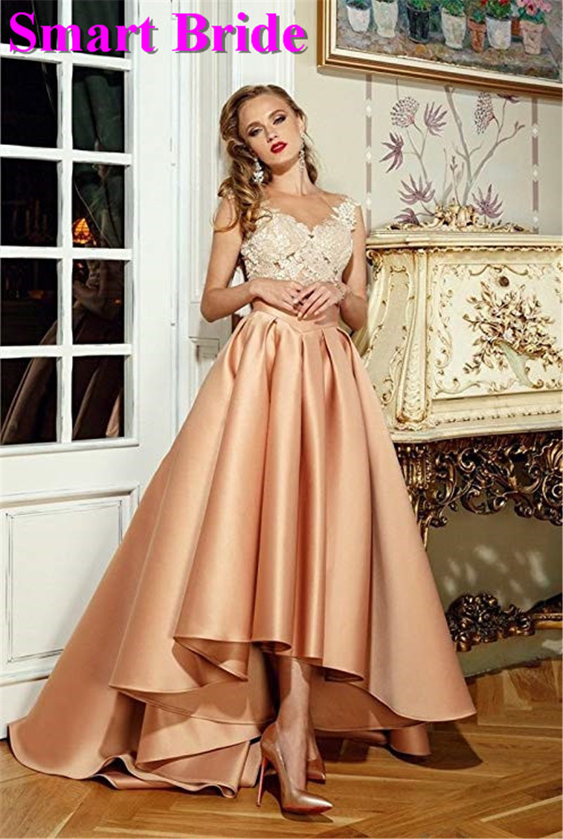 Cocktail Party Dresses 2019 Satin High Low Birthday Prom Skirts Empire Waist Pleated Skater Dress Vintage A Line CDress 1