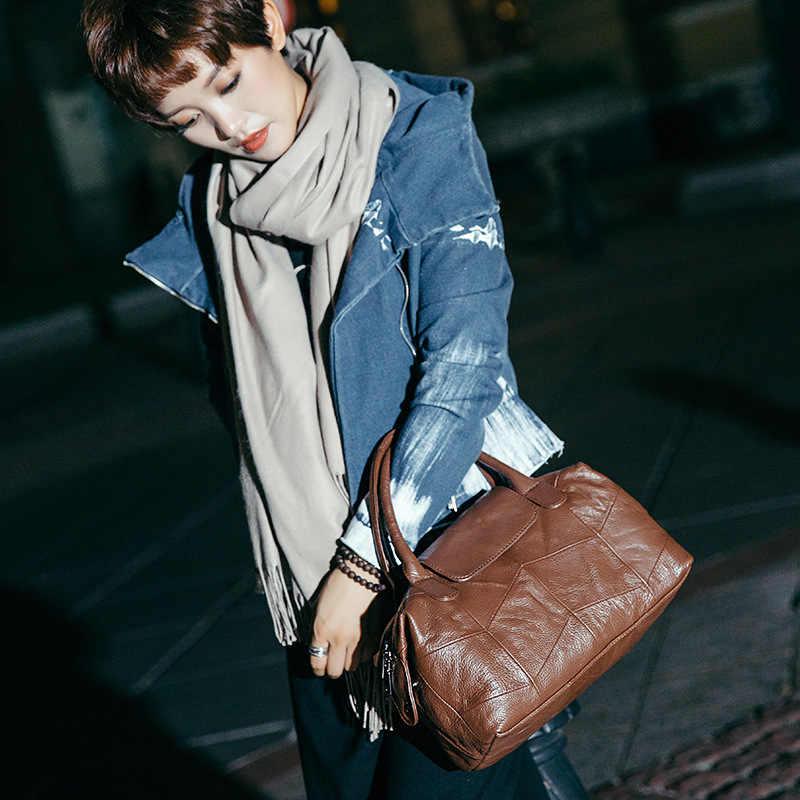 2018 novas mulheres de couro genuíno boston saco europa estilo simples bolsa moda tendência ombro saco senhora do escritório bolsa