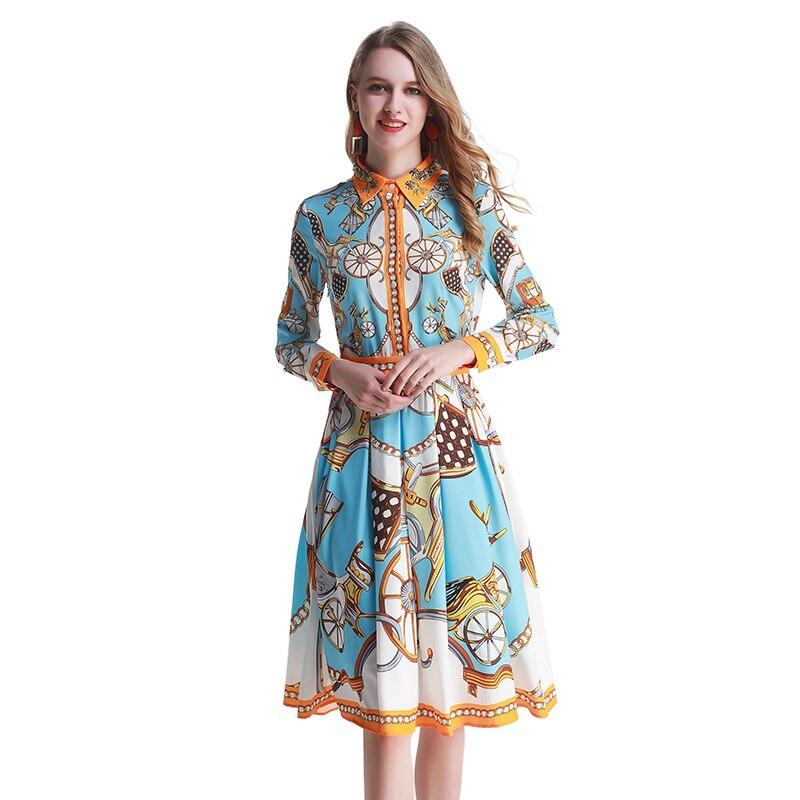 패션 디자이너 활주로 가을 셔츠 드레스 봄 여름 여성 드레스 긴 소매 빈티지 휠 인쇄 슬림 우아한 파티 드레스-에서드레스부터 여성 의류 의  그룹 1