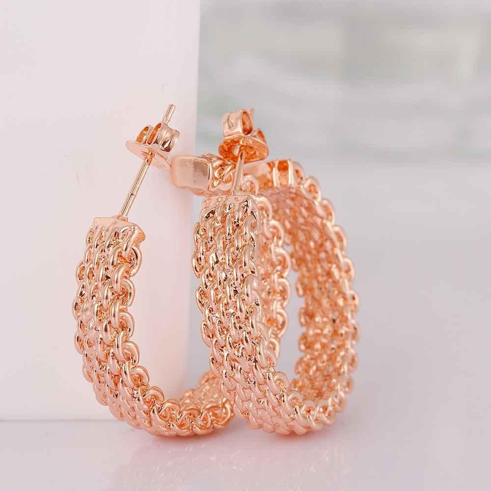 2015 new fashion Jewelry braid stud earrings women jewelry GP Zircon earing brincos SKGE029