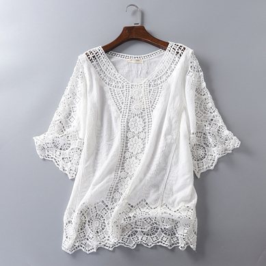 Flight Tracker Summer Cardigan Lace Kimono Cardigan Women White Blouse Crochet Top Embroidery Korean Beach Wear Blusas Mujer De Moda 2019 Tunic Women's Clothing