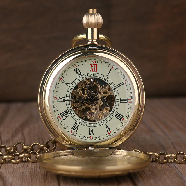 Luxury High Quality Golden Hand Wind Mechanical Pocket Watch Roman Number Dial Pendant Chain Fob Watch