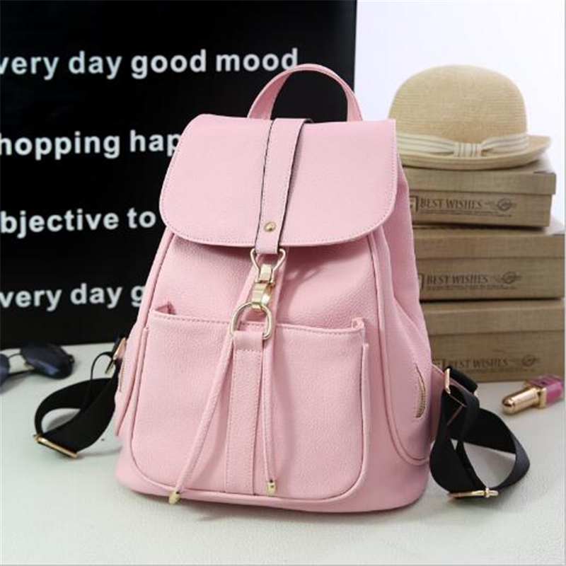 2017 New Women Leather Backpack Black Bolsas Mochila Feminina Large Girl Schoolbag Travel Bag Solid Candy Color Pink Gray Beige  new women leather backpack black bolsas mochila feminina girl schoolbag travel bag solid candy color green pink beige