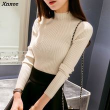 On sale 2018 autumn winter Women sweater high elastic Solid Turtleneck sweater women slim sexy tight Bottoming Knitted Pullovers