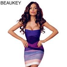 Purple Gradient Strapless 2016 Sexy Women Bodycon  Bandage Dress