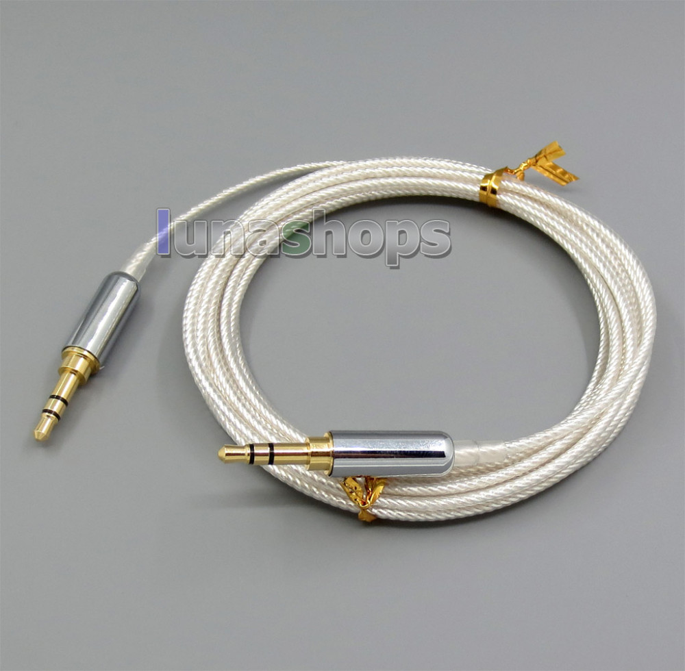 3m Pure Silver Plated 3.5mm Male Headphone cable for  Headphone Car AUX Speaker etc. LN005526