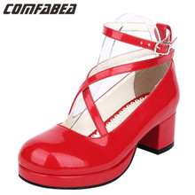 Plus size 34~40 41 42 43 44 2016 New fashion student Animation red shoes LOLITA  sweet princess dress shoes spring autumn #0248