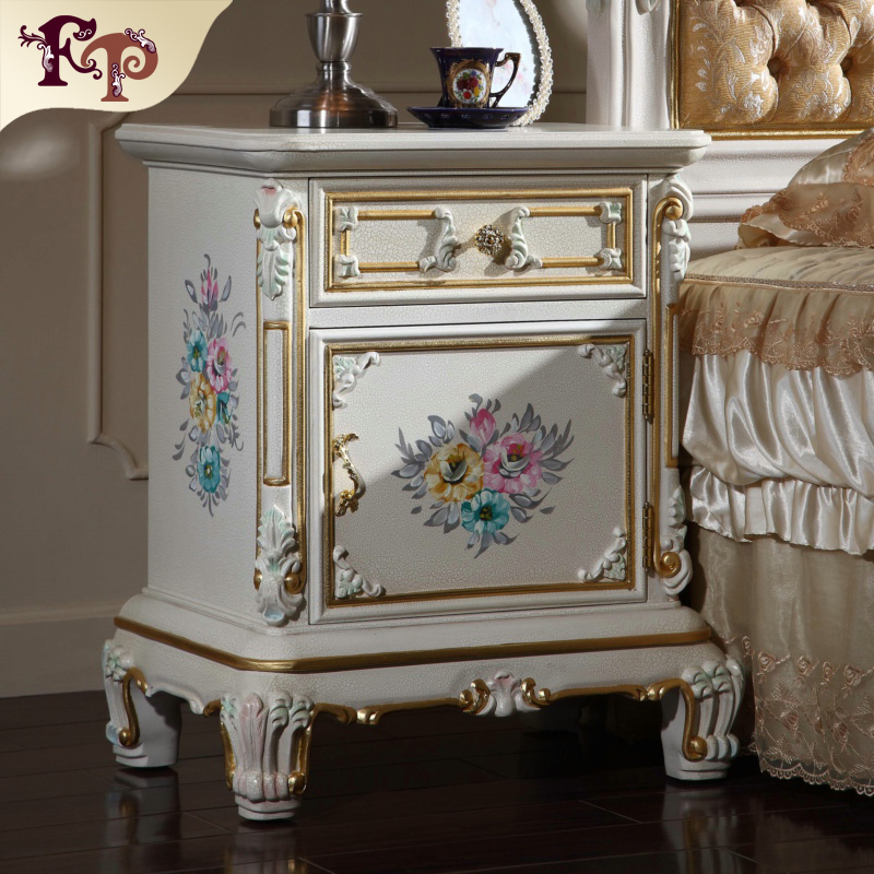 2016 newest design <font><b>italian</b></font> furniture reproduction white fashion baroque solid wood handcraft bedstand