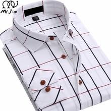 MR JIM 2016 new men s cotton shirt plaid long Sleeve casual business breathable Comfortable Plus