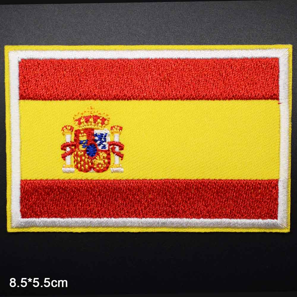 Spain National Flag Iron on USA US Germany Russia Russian UK National Flag Novelty Embroidered Clothes Patches For Clothing(China)