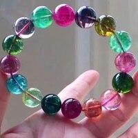 Сертификат натуральный красочный турмалин кристалл большой круглый бусины браслет 13 мм стрейч Прямая доставка AAAAAA