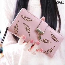 2016 neue Koreanische frauen brieftasche langen abschnitt der mode handtasche hohlen blatt reißverschluss schnalle brieftasche karte paket