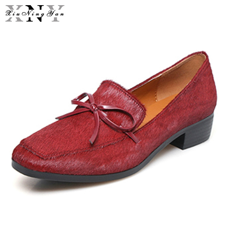 XiuNingYan 2018 Spring Autumn Genuine Leather Women Loafers Casual Shoes for Woman Oxfords Flats Square Toe Brogues Big Size xiuningyan 2017 women oxfords patent leather flats shoes slip on handmade woman loafers yellow black casual shoes big size 33 48