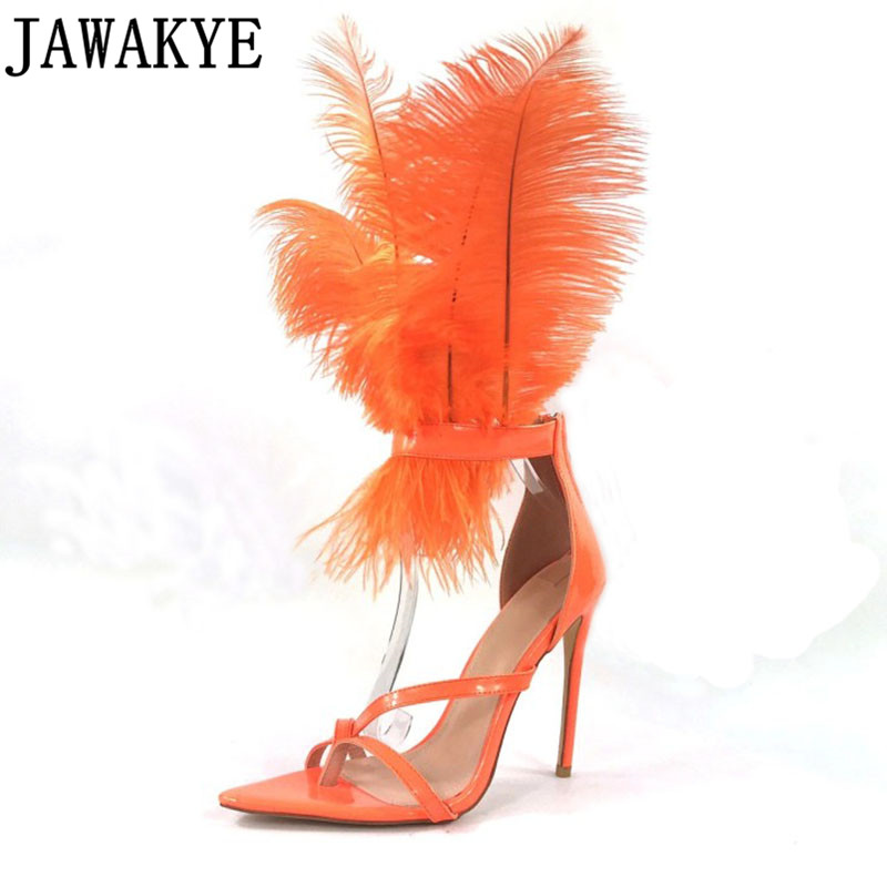 Feather Sandals Nightclub Party Shoes Women Toe knob Pointed multi color High Heel Sandals Gladiator Sandals 2019 summer