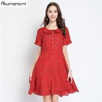 Summer Dress Women 2019 Plus Size Peter Pan Collar Short Sleeve Chiffon Polka Dot Party Dress Free Shipping Vestidos Verano Robe