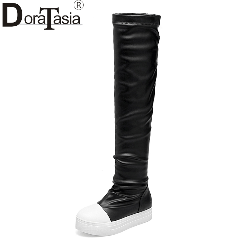 DoraTasia New Large Size 33 43 Add Fur Flat Heels Thick Bottom Slip On Women Shoes