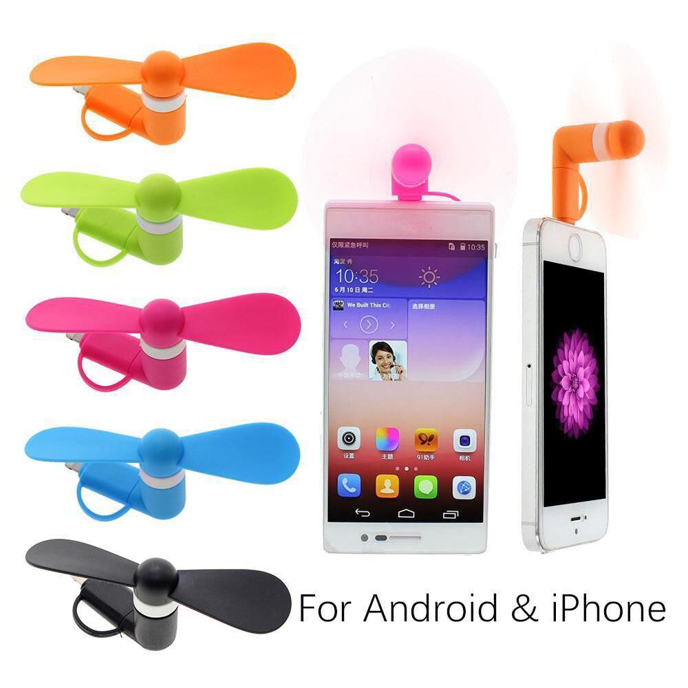 imágenes para 10 Unids/lote Mini Ventilador Portátil 2 en 1 Micro USB Para el iphone 5 6 7 Samsung HTC Android Smartphones OTG S7 S8 Teléfono Celular de Refrigeración ventilador