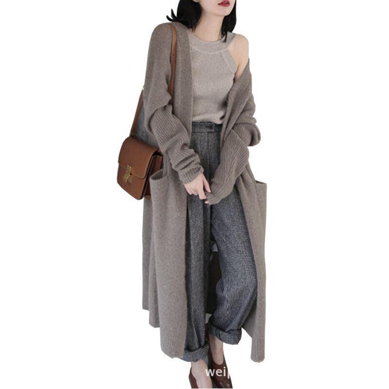 Для женщин Свитера и кардиганы 2018 Новая мода осень зима с длинным рукавом Свободный вязаный кардиган женский свитер sovercoat