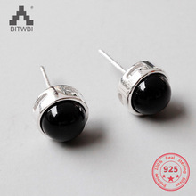 Classic 925 Sterling Silver Stud Earrings Geometry Black Agate Lover Gift Unisex Couple Fine Jewelry