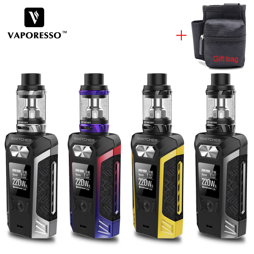 Original Vaporesso Electronic Cigarette Switcher Kit With 220W Switcher 510 Vape Box Mod 5ml NRG Tank Atomizer use GT Coil