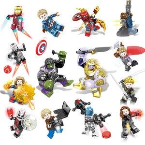 Image 4 - 16pcs נוקמי מלחמת אינסוף דמות סט Legoingly סופר גיבור ברזל Thor תאנסו פיטר האלק שחור פנתר אבני בניין דגם צעצועים