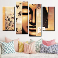 4 PCS/Set Buddha Poster Retro Figure Painting Prints on Canvas Abstract Yellow Buddha Face with Bamboo Wall Art for Home Decor
