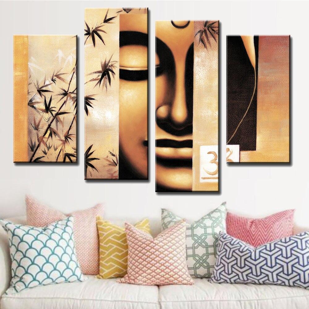 4 шт./компл. Будда плакат ретро Рисунок Живопись Печать на холсте абстрактный желтый Будда лицо с бамбуком стены искусства для домашнего декора