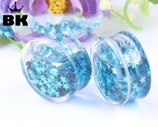 1 Pair Acrylic Liquid Plug Ear Expander Saddle Blue Color Five Star Plugs and Tunnels for Ear Plugs Gauges 6mm--16mm