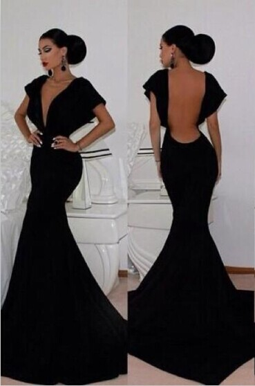 Retro Prom Dress Black Deep V neck Backless Cap Sleeves Mermaid ...