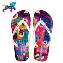 Hotmarzz feminino designer flip flops graffiti dos desenhos animados chinelos sandálias de praia verão sapatos 2018 piscina chuveiro