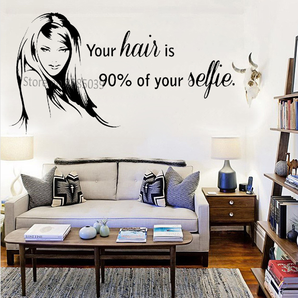 Beautiful Beauty Hair Salon Decal Wall Window Decor Stickers Art Quoteyour  hair is 5% of yourBarbershop Wall Sticker LC5