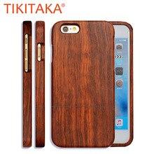Natural caja de madera para iPhone 7 6 6s Plus 5 5S cubierta Durable de alta calidad Real de madera de palisandro y bambú de fundas del teléfono tapa