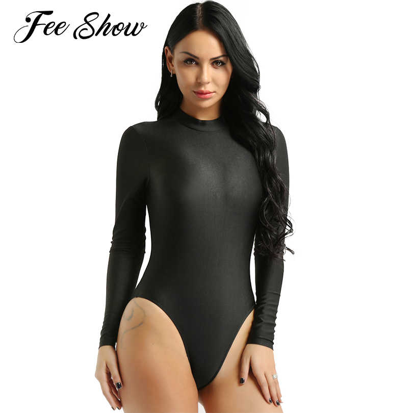 Women Sexy Lingerie Bodysuit Latex Catsuit Long Sleeves Solid Color Stretchy High Cut Bodysuit Adults One Piece Leotard Swimsuit