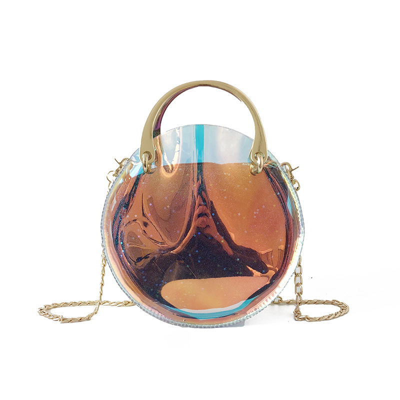 Women Shoulder Bag New Fashion PVC Mini Jelly Bag Transparent Round Chain Bag  Ladies Crossbody Messenger Pack Top Handle Clutch-in Shoulder Bags from ... 0a834970c6282