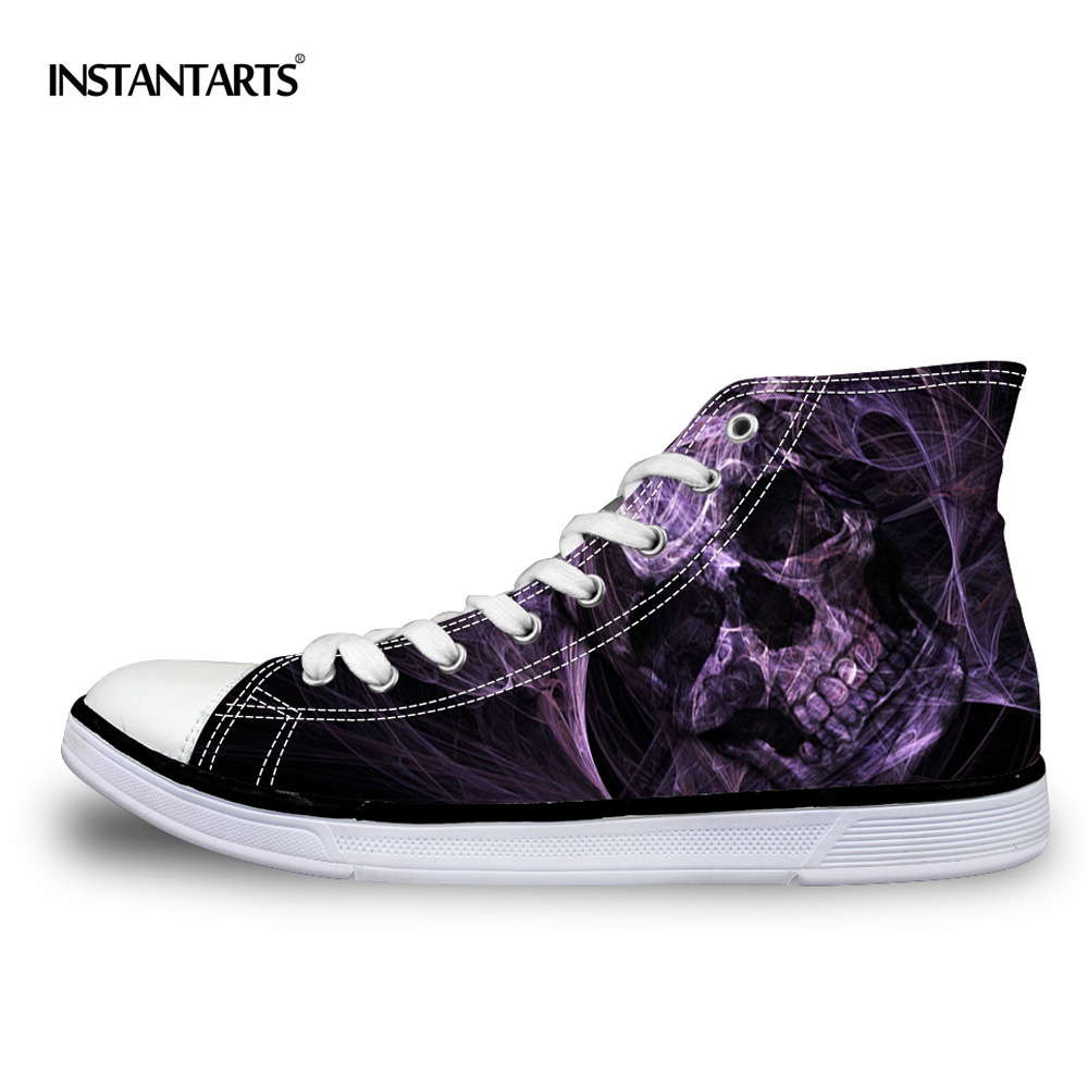 INSTANTARTS Cool Skull Vulcanize Shoes Classic High Top Canvas Shoes Casual Men Lace-up High-top Zapato plano para hombre Zapatos