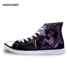 INSTANTARTS Cool Men's Skull Vulcanize Shoes Classic High Top Canvas Shoes Casual Men Lace-up High-top Flat Shoe for Man Zapatos