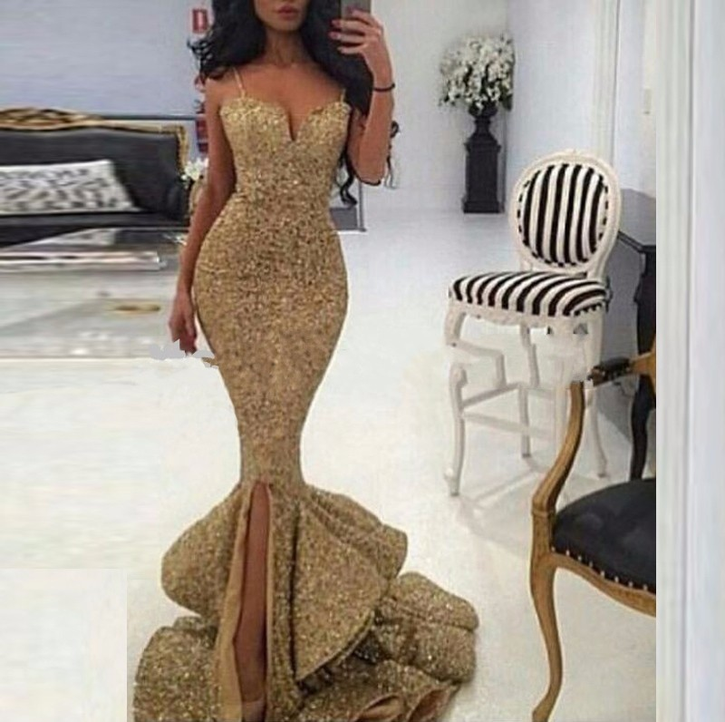 Robe De Soiree 2019 Long   Evening     Dresses   Mermaid Sequined Spaghetti Strap Sweetheart Gold Women Prom   Dress   Formal Party Gown