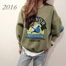 Sudaderas Mujer 2016 Autumn Winter New Moleton Korea Harajuku Print Letter Oversize Hoodies Sweatshirt For Women Pullover Hoodie