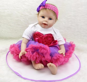 Reborn girl princess doll 22inch 55cm bebe silicone reborn baby dolls real ture looking soft boneca reborn menina gift